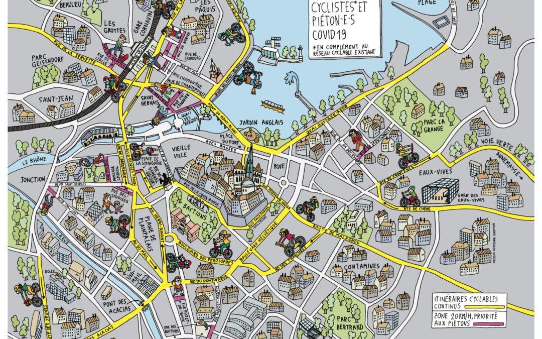 Carte de la mobilité douce à Genève
