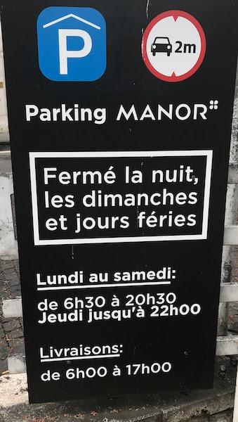 Fermeture parking Manor